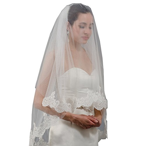 GEORGE BRIDE 2T Lace Wedding Veils With Comb Cover Face Bridal Veil (white)