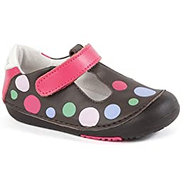 Momo Baby Girls First Walker/Toddler Polka Dots Brown T-Strap Leather Shoes - 4 M US Toddler
