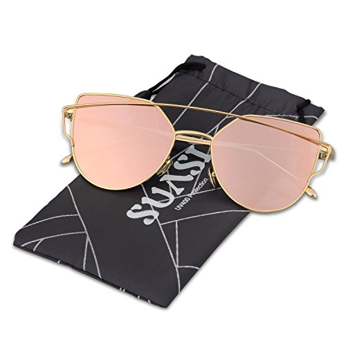 Image of SUASI Womens' Sunglasses Vintage Reflective Flat Rimless Metal Aviator Sunglasses 66080(pink, pink)