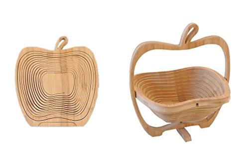 RoomClip商品情報 - 一枚の板が立体のバスケットに変化する 2D→3D 竹製 りんご型 折りたたみ バスケット インテリア 家具 雑貨 くだもの カゴ 小物 入れ 鍋敷き デザイン