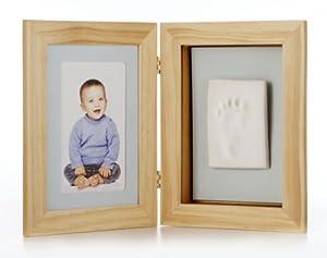 Pearhead 91410 - Marco de fotos infantil con espacio para huella, color madera natural de Pearhead