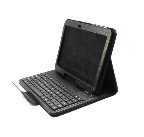 FOME PU Leather Bluetooth Keyboard Tablet Stand Case for Samsung Galaxy Tab 3 10.1 P5200 P5210 Black + A FOME Clean Cloth Gift