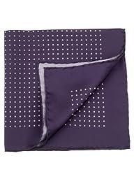 Elizabetta Men\'s Large Italian Silk Pocket Square Handkerchief, Purple Polka Dot