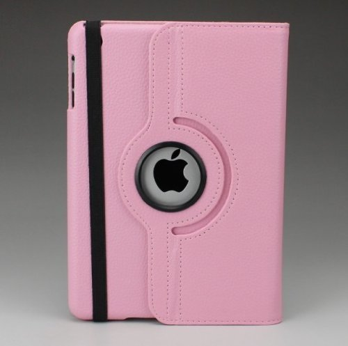 Ipad Mini Lichee Pattern Case 360 Degrees Rotating Stand Leather Case For New Apple Ipad Mini 7.85 Inch / The Ipad Mini 7 Inch / Built-In Stand For Apple Ipad Mini 7.85 Inch Latest Generation 4G(Pink)