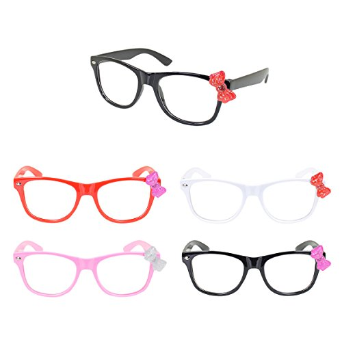 Kids Cute Kitty Cat Bow Clear Lens Glasses Age 3-12 - Different Colors