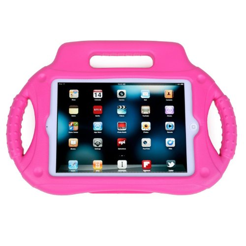 Eastchina® New Coverbot Fashion Style Super Light Weight Cute Kids Child Shock Proof Steering Wheel Eva Foam Handle Stand Super Protection Convertible Protective Cover Case For Apple Ipad Mini 1 & Ipad Mini 2 Mini Retina (Rose)
