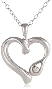 "Women's Sterling Silver Diamond ""Love Heals"" Symbolic Heart Pendant Necklace with Teardrop (0.01 cttw, I-J Color, I2 Clarity), 18"""