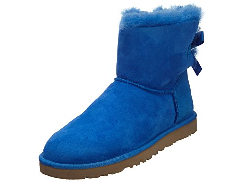 UGG Australia Womens Mini Bailey Bow Boot Smooth Blue Size 7 (Blue Bow Uggs compare prices)