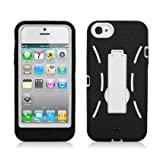 BLACK/WHITE Armor 3 IN 1 High Impact Combo Hard Soft Gel Case Stand for Apple iPhone 5