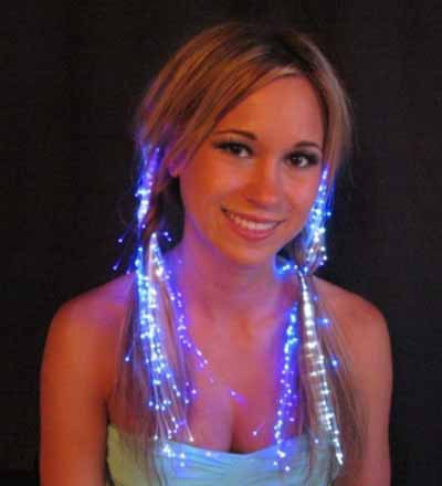 Glowbys LED Fiber Optic Light-Up Hair Barrette - Blue