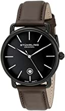Stuhrling Original Symphony Ascot Agent Men's Quartz Watch with Black Dial Analogue Display and Brown Leather Strap 768.03