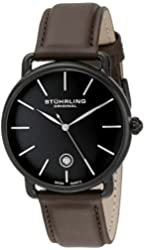 Stuhrling Original Men's 768.03 Ascot Swiss Quartz Date Brown Leather Strap Watch