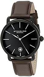 Stuhrling Original Men's 768.03 Ascot Swiss Quartz Date Brown Leather Strap Watch