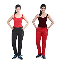 Casual Combo of Red & Black Track Pants by Bfly