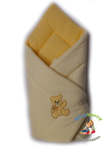 Blueberry Shop Warm Thermo Terry Newborn Baby Swaddle Me Blanket Duvet Sleeping Bag Baby's Horn Cream/Apricot
