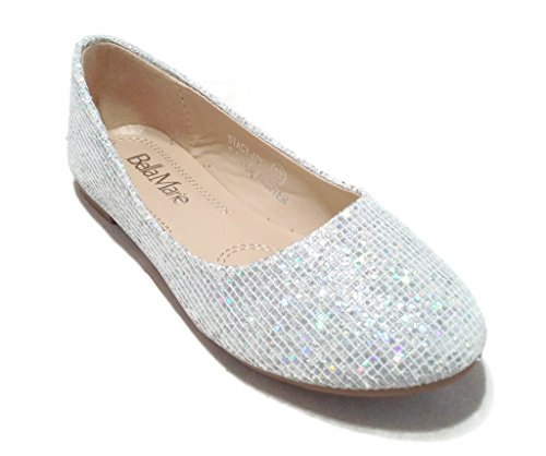 BellaMarie Kids Dress Ballet Flat Slip On Comfortable Ballerina SILVER Synthetic Glitter Sparkle Shoes 2 US Little Kid