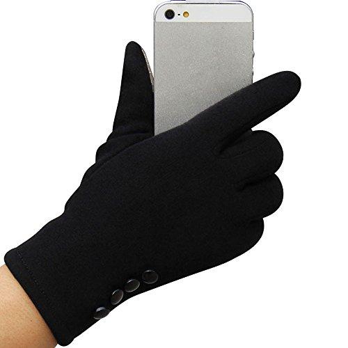 DETALLAN Fashion Womens Winter Touch Screen Outdoor Sport Warm Gloves (Black)