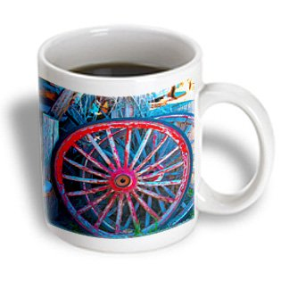 Jos Fauxtographee- Wheels - Old Wheels From A Wagon Set Aside In Red And Blue - 11Oz Mug (Mug_183294_1)