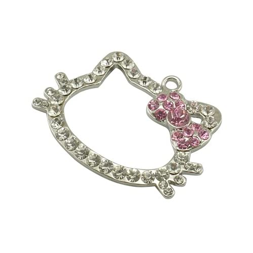 Jewelry Making 1x Rhinestone Hello Kitty Pendant Charm for Jewelry Makeing, Hot Pink Bow and Silver, about 53mm long, 39mm wide, 6mm thick
