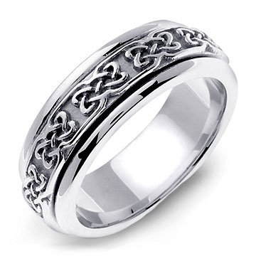 COCIDIUS 14K White Gold Celtic Design Wedding Band Ring