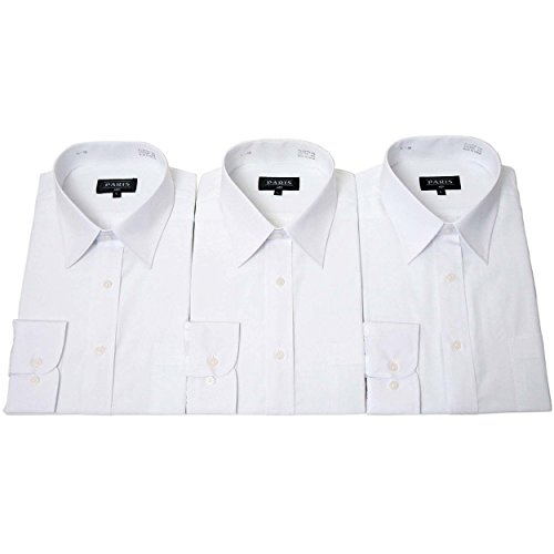 (パリス) PARIS ビジネス レギュラー ホワイト 長袖 シャツ 白 ワイシャツ 3枚 セット 綿45%なので生地が薄くなく ゆったり着れる Yシャツ Smith & Scottの ポリウォッシャブルネクタイ1本プレゼント L