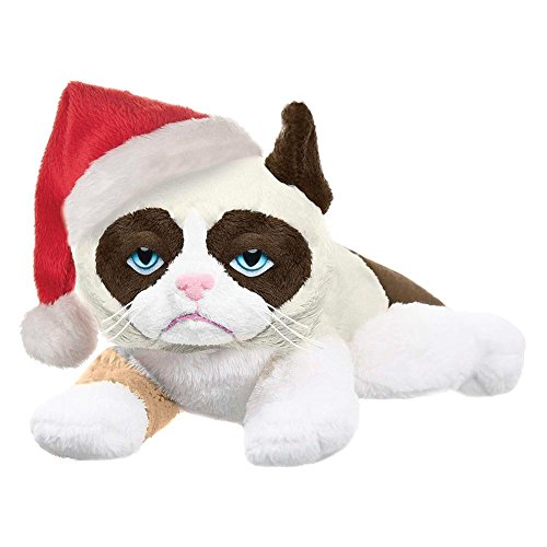 Grumpy Cat with Santa Hat - 8-inch Laying