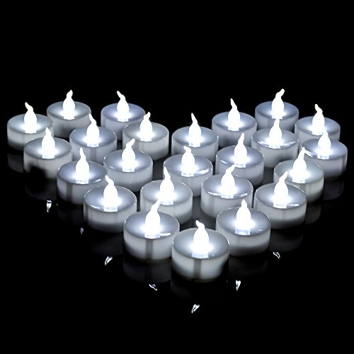 AGPTEK® 24pc Battery-Operated Smokeless LED Tealight with Timer Function (Auto 6 hours on and 18 hours off) for Indoor/Outdoor Home Party Holiday Decorations-Cool White