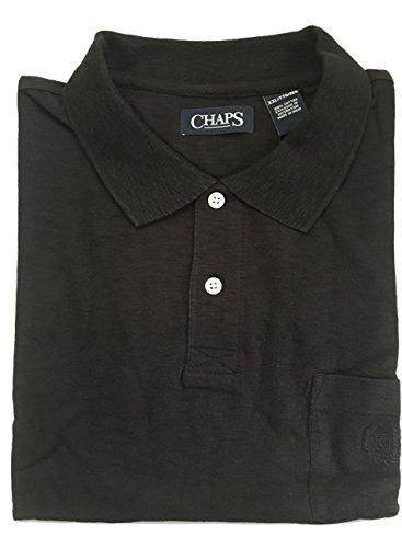 Chaps Ralph Lauren Men's Jasper Cotton Slub Solid Polo Shirt (X-Large, Black)