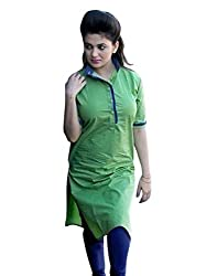 Green & Blue Color Cotton Printed Semi-Stitched Kurti-H473KIC2006CN by Surat Tex