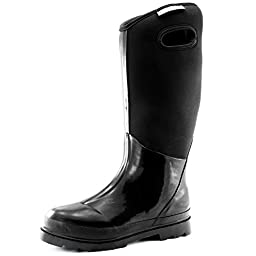 Women\'s Classic High Ultra Soft Neoprene Waterproof Rubber Rainboot Mid Calf Warm Winter Snow Boots, 5