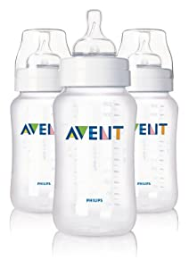 Philips Avent BPA Free Classic Polypropylene Bottles, 3 Count, 11 Ounce