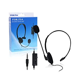 Pythons Wired Headset with Microphone for Play Station 4-Black