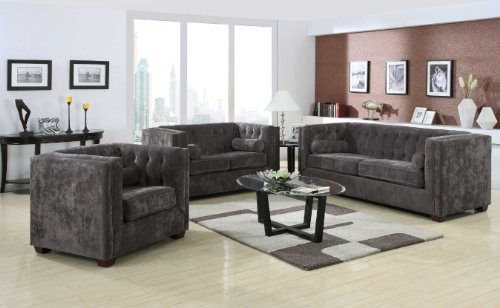 Coaster Alexis Transitional Chesterfield Sofa In Charcoal