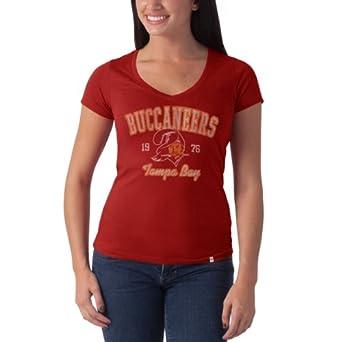 Ladies NFL Tampa Bay Buccaneers Retro Logo V Neck Flanker Tee by