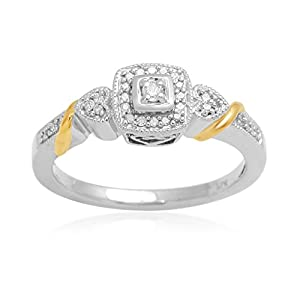 Jewelili 0.10 cttw White Diamond Ring In Sterling Silver & Yellow Gold Plated, US8