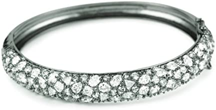 CZ by Kenneth Jay Lane Rhodium-Plated Silver-Tone and Cubic Zirconia Hinged Bracelet
