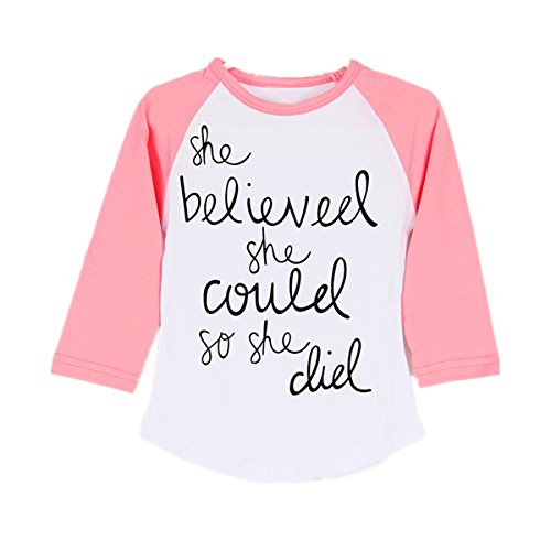 Puseky Funny Toddler Baby Kids Girl Long Sleeve Letter Print T-shirt Casual Tops (1~2T)