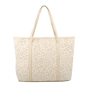 Keral Lace Embellished Fashion Shoulder Bag With Shoulder Strap - Beige, Size - Medium
