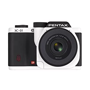 Pentax K-01 16MP APS-C CMOS Compact System Camera with Dual Lens Kit 18-55mm, 50-200mm (White)