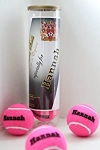 Personalised Tennis Balls - PINK Made in the UK from PRICE OF BATH