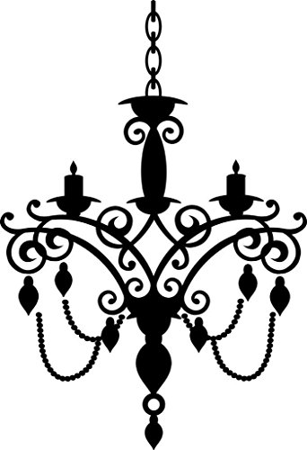 "Design with Vinyl 2015 BS 96 ""Hanging Chandelier Light Fixture"" Wall Decal, 14"" x 28"", Black"