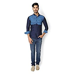 STRAK Mens' Pure Cotton Blue Abstract Dotted Designer Apple Cut Style Shirt With Full Sleeve Size:-L/42