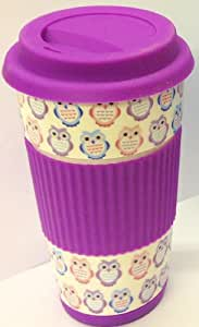 Owl Take Away Thermal Insulated Ceramic Eco Cup Travel Mug Silicon Lid & Grip (Purple)