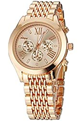 Soleasy Unisex Elegant Design Steel Band Quartz Wrist Watch(Rose Gold)WTH0932