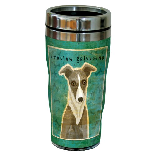 Tree-Free Greetings Sg24076 White And Grey Italian Greyhound By John W. Golden 16-Ounce Sip 'N Go Stainless Steel Lined Travel Tumbler