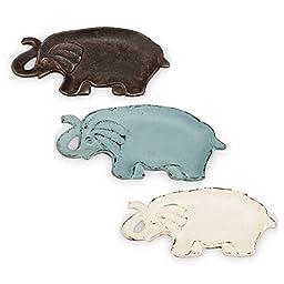 Foreside Set of Three Elephant Trinket Trays