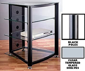 RGR Series 4-Shelf TV Stand and Audio Rack Pole Color: Black, Glass: Clear