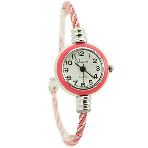 Braided Bangle Bracelet Watch For Women Hot Pink And Silver Tone - 1