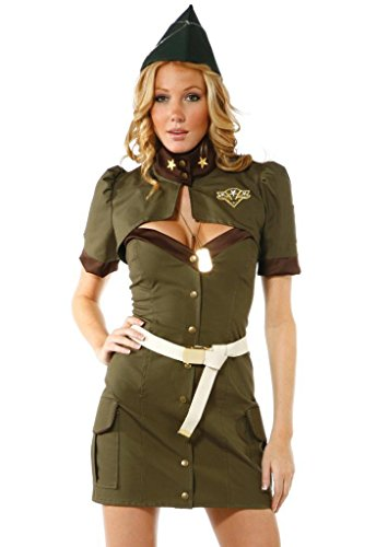 [OLUOLIN Women's 4 Piece Pin Up Army Military Dress Costumes Sets] (Pin Up Girl Costume Halloween)