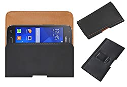 Acm Belt Holster Leather Case For Samsung Galaxy S Duos 3 Sm-G313Hu Mobile Cover Holder Clip Magnetic Closure Black
